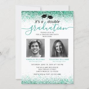 Elegant Teal Joint Graduation Photo Invitation