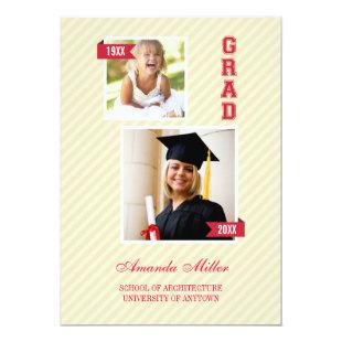 Elegant Then and Now Graduation Announcement