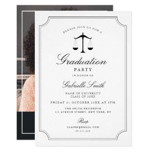 Elegant vintage frame law school graduation party invitation