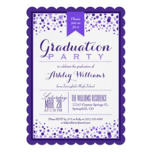 Elegant Violet Purple & White Graduation Party Invitation