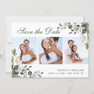 Elegant Watercolor Eucalyptus 3 PHOTO Wedding Save The Date