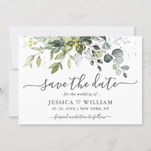 Elegant Watercolor Eucalyptus Greenery Wedding Sav Save The Date