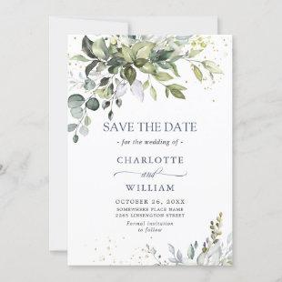 Elegant Watercolor Eucalyptus Greenery Wedding Save The Date