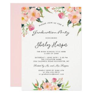 Elegant Watercolor Pink Floral Graduation Party Invitation