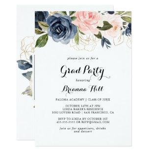 Elegant Winter Floral Calligraphy Grad Party Invitation