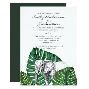 Elephant Safari Graduation Invites Tropical Palms