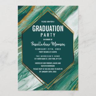 Emerald Gold Abstract Agate Marble Graduation Invitation