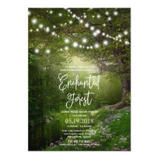 Enchanted Forest String Lights Prom Invitations