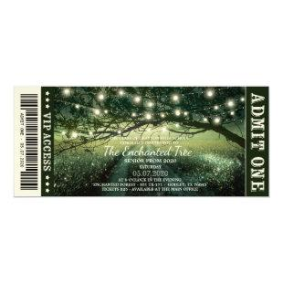 Enchanted Forest String Lights Ticket Style Prom Invitation