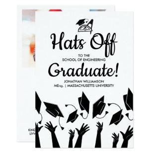 Engineering Grad Photo Hats Off Graduation Party Invitation