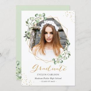 Eucalyptus Gold Geometric Photo Graduation Party Invitation