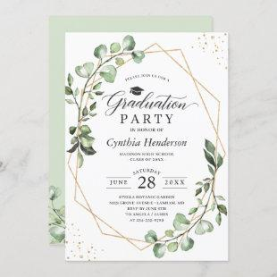 Eucalyptus Greenery Geometric Graduation Party Invitation