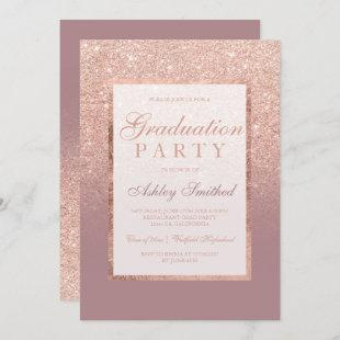 Faux dusty rose gold glitter Graduation party Invitation