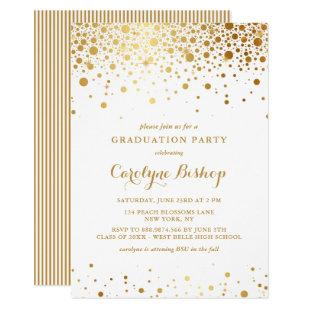 Faux Gold Confetti Graduation Party Invitation