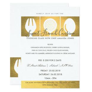 FAUX GOLD SPOON FORK COOKERY CLASS INVITE TEMPLATE