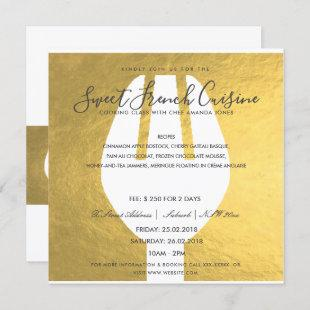 FAUX GOLD SPOON FORK COOKING CLASS INVITE TEMPLATE