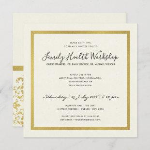 FAUX GOLD WHITE DAMASK CLASSIC WORKSHOP EVENT INVITATION