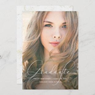 Faux Marble and Typography Photo Graduation Party Invitation