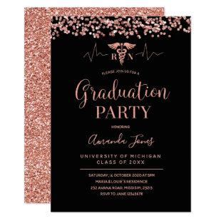 FAUX ROSE GOLD Black RN Nurse Graduation Party Invitation