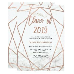 Faux Rose Gold Geometric | Marble Graduation Party Invitation