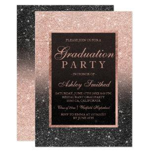 Faux rose gold glitter black Graduation party Invitation