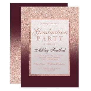 Faux rose gold glitter burgundy Graduation party Invitation