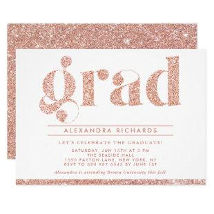 Faux Rose Gold Glitter Graduation Party Invitation
