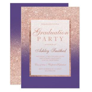 Faux rose gold glitter purple Graduation party Invitation