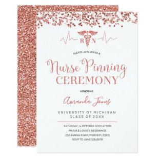FAUX ROSE GOLD RN Nurse Pinning Ceremony Invitation