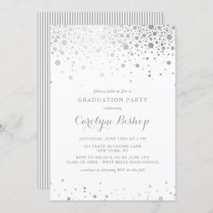 Faux Silver Confetti Graduation Party Invitation