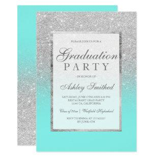 Faux silver glitter teal Graduation party Invitation