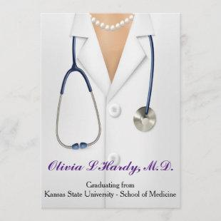 Female Doctor Graduation Party Invitation