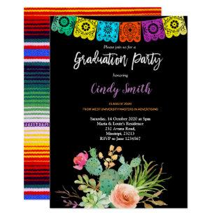 Fiesta cactus Graduation Party Invitation black
