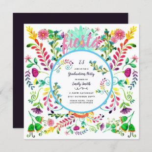 Fiesta Flowers GRADUATION PARTY Watercolor Invites