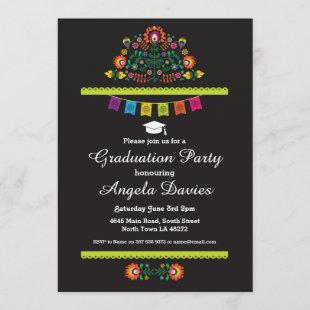 Fiesta Graduation Party Mexican Pattern Hat Invite