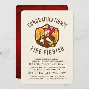 Fire Fighter Retro | Graduation Party Invite