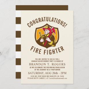 Fire Fighter Retro Style Graduation Announcement