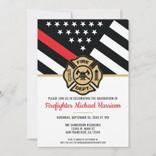 Firefighter Fire Academy Red Line Flag Graduation Invitation