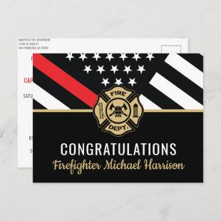 Firefighter Fire Academy Red Line Flag Graduation Invitation Postcard
