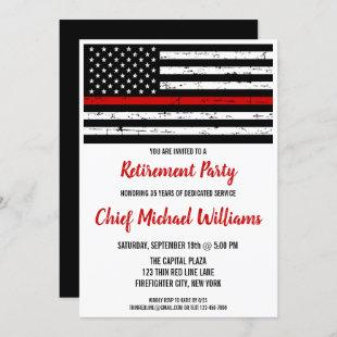 Firefighter Retirement Party Thin Red Line Flag Invitation