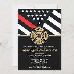 Firefighter Retirement Red Line Flag Fireman Invitation