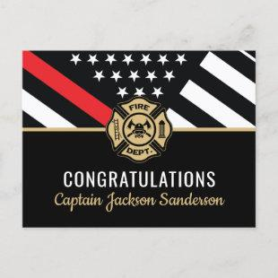 Firefighter Retirement Red Line Flag Fireman Invitation Postcard