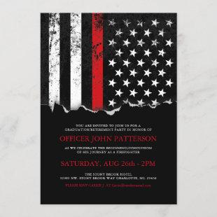 Firefighter Style American Flag Party Invite