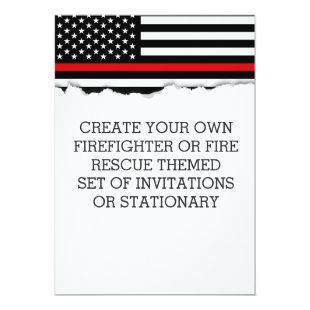Firefighter Themed Flag Custom Invitations or Stat
