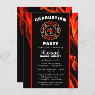 Fireman Fire Badge Firefighter Graduation Party Invitation