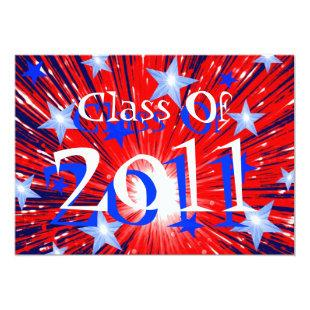 Firework Red White Blue 'Class of 2011' party Invitation