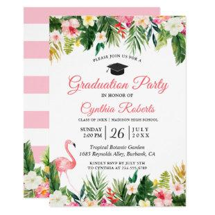 Flamingo Tropical Leaves Floral Graduation Party Invitation