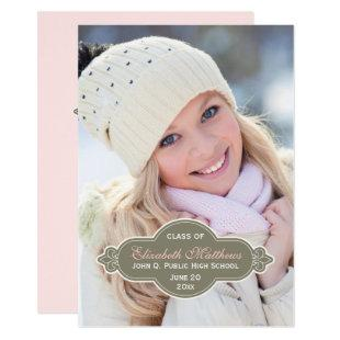 Fleur Graduation Photo - Drab Green | Pink Invitation