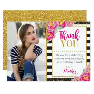 Floral Birthday Thank You Card | Black and White