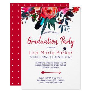 Floral boho red navy blue bouquet graduation party invitation